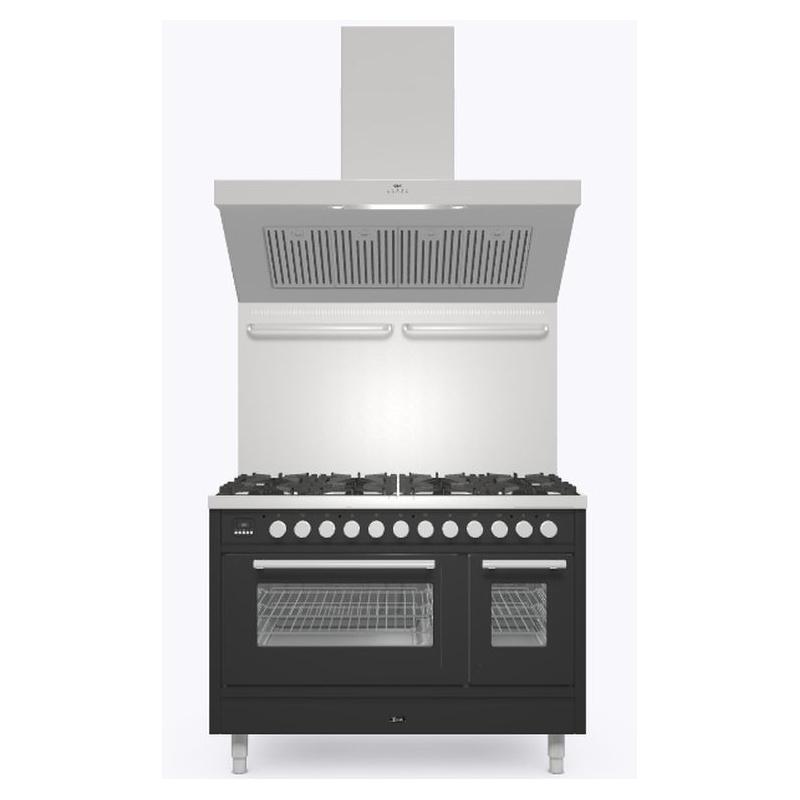 Set Aragaz ILVE Professional Plus P12W, 120x60cm, 8 arzatoare, cuptor dublu+Splash Back 120+Hota Ilve AGQ120, negru mat