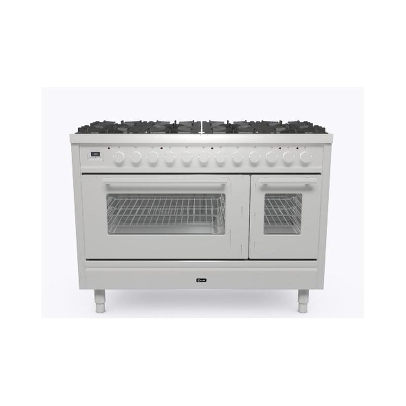 Aragaz ILVE Professional Plus P12W, 120x60cm, 8 arzatoare, cuptor dublu, aprindere electronica, siguranta Stop Gaz, inox