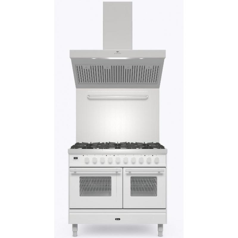 Set Aragaz ILVE Professional Plus PD10W, 100x60cm, 4 arzatoare+Fry Top, cuptor dublu+Splash Back 100+Hota Ilve AGQ100, alb