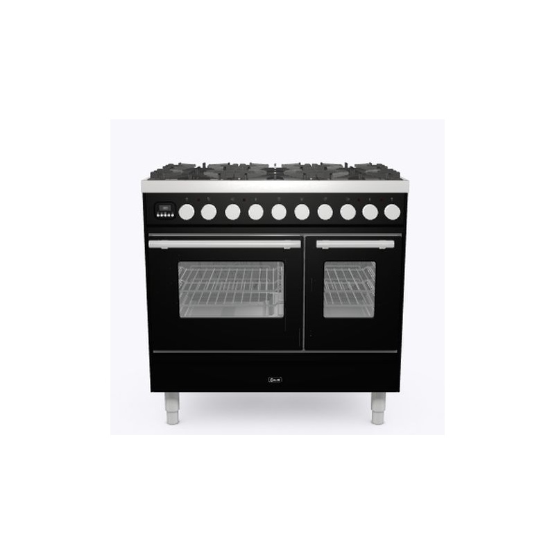 Aragaz ILVE Professional Plus PD09W, 90x60cm, 6 arzatoare, cuptor dublu, aprindere electronica, siguranta Stop Gaz, negru lucios
