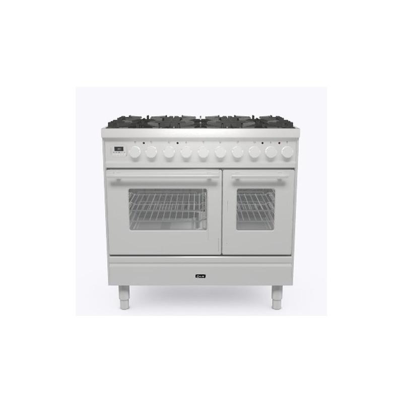 Aragaz ILVE Professional Plus PD09W, 90x60cm, 4 arzatoare+Fry Top, cuptor dublu, aprindere electronica, siguranta Stop Gaz, inox