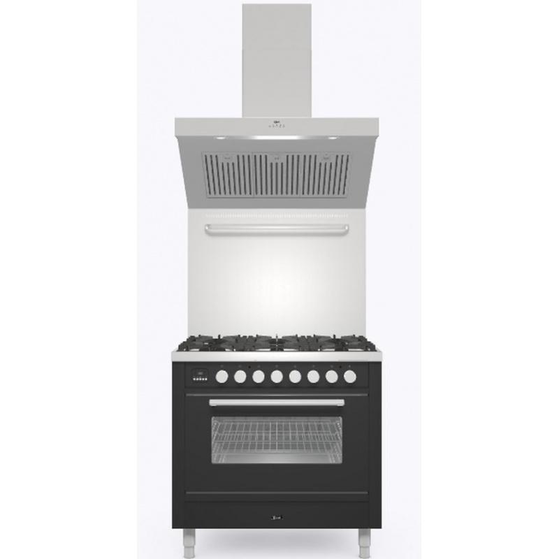 Set Aragaz ILVE Professional Plus P09W, 90x60cm, 4 arzatoare+Fry Top, cuptor electric+Splash Back 90+Hota Ilve AGQ90, negru mat