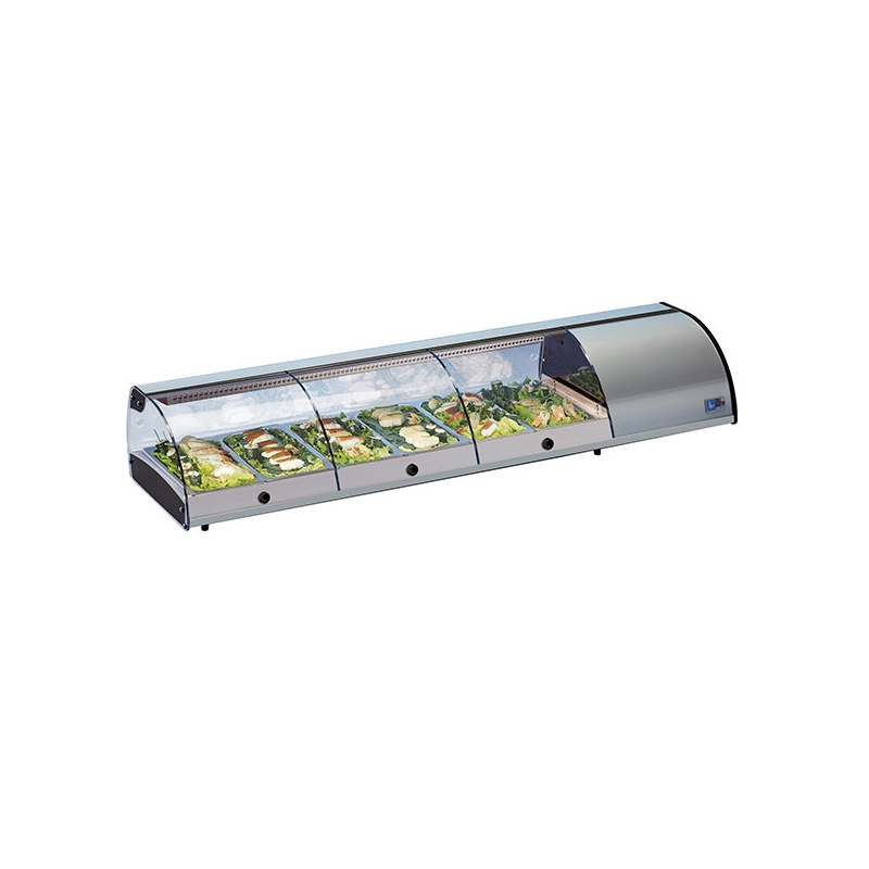 Vitrina frigorifica expunere ingrediente Tecfrigo Sushi 8 PI SS, putere 300 W, lungime 179 cm, temperatura +1/+5, argintiu