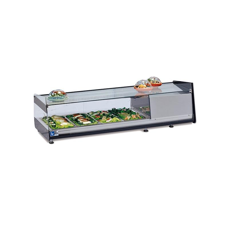 Vitrina frigorifica expunere ingrediente Tecfrigo Sushi 6 D GN, putere 270 W, lungime 143.7 cm, temperatura +1/+5, argintiu