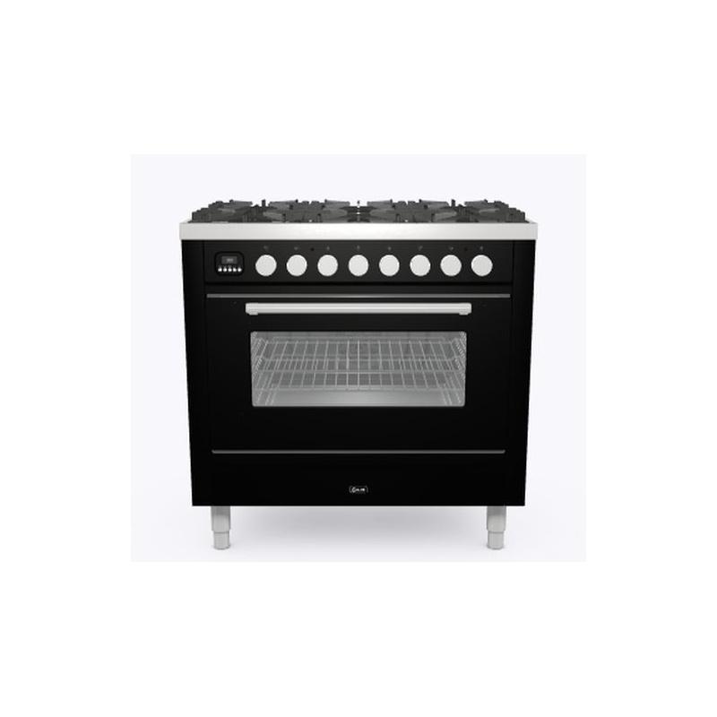 Aragaz ILVE Professional Plus P09W, 90x60cm,6 arzatoare,cuptor electric, aprindere electronica, siguranta Stop Gaz, negru lucios