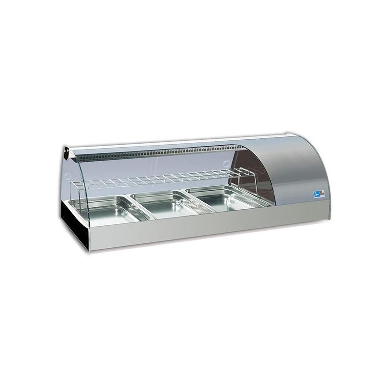 Vitrina frigorifica expunere ingrediente Tecfrigo Gransushi 3 PI, putere 272 W, lungime 133 cm, temperatura +1/+5, argintiu