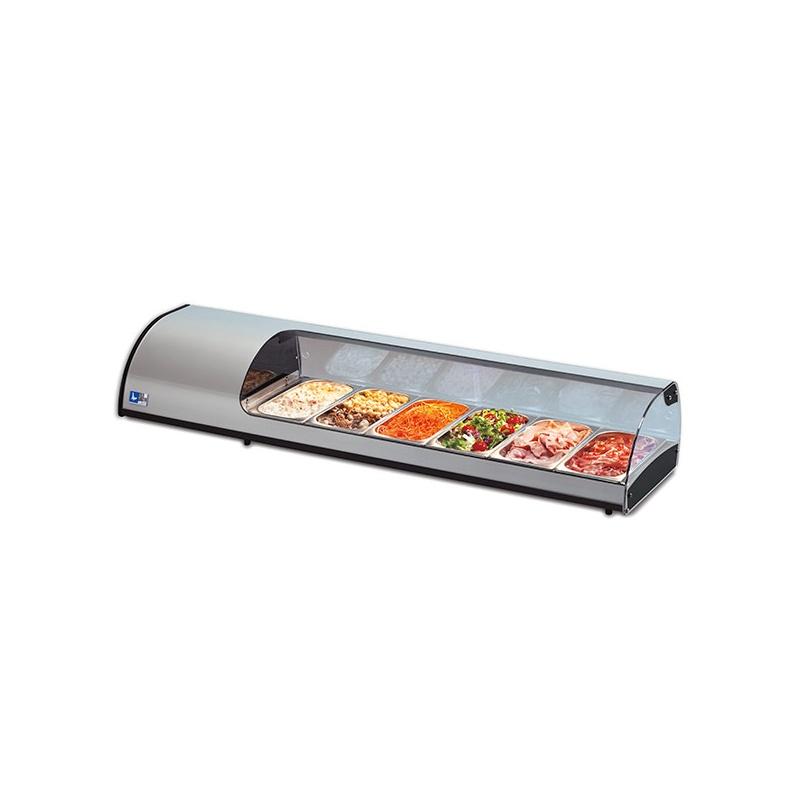 Vitrina frigorifica expunere ingrediente Tecfrigo Tapasi 4 GN SS, putere 262 W, lungime 143.7 cm, temperatura +3/+5, argintiu