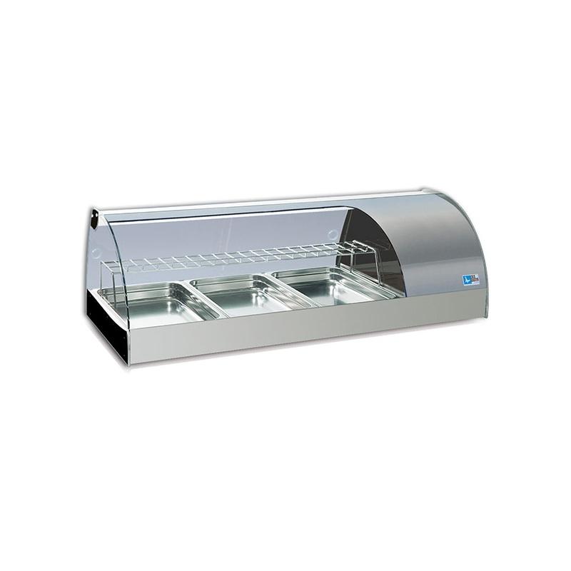 Vitrina frigorifica expunere ingrediente Tecfrigo Grantapas 4GN, putere 281 W, lungime 165.5 cm, temperatura +3/+5, argintiu
