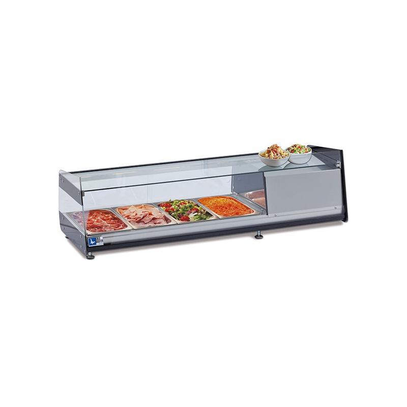 Vitrina frigorifica expunere ingrediente Tecfrigo 6 D PI, putere 262 W, lungime 143.7 cm, temperatura +3/+5, argintiu