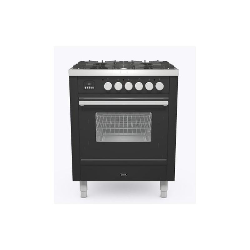 Aragaz ILVE Professional Plus P06W, 60x60cm, 4 arzatoare, cuptor electric, aprindere electronica, siguranta Stop Gaz, negru mat