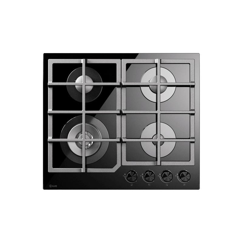 Plita incorporabila ILVE Professional Plus HCG60CK, 60 cm, 4 arzatoare, aprindere electronica, siguranta Stop-Gaz, sticla neagra