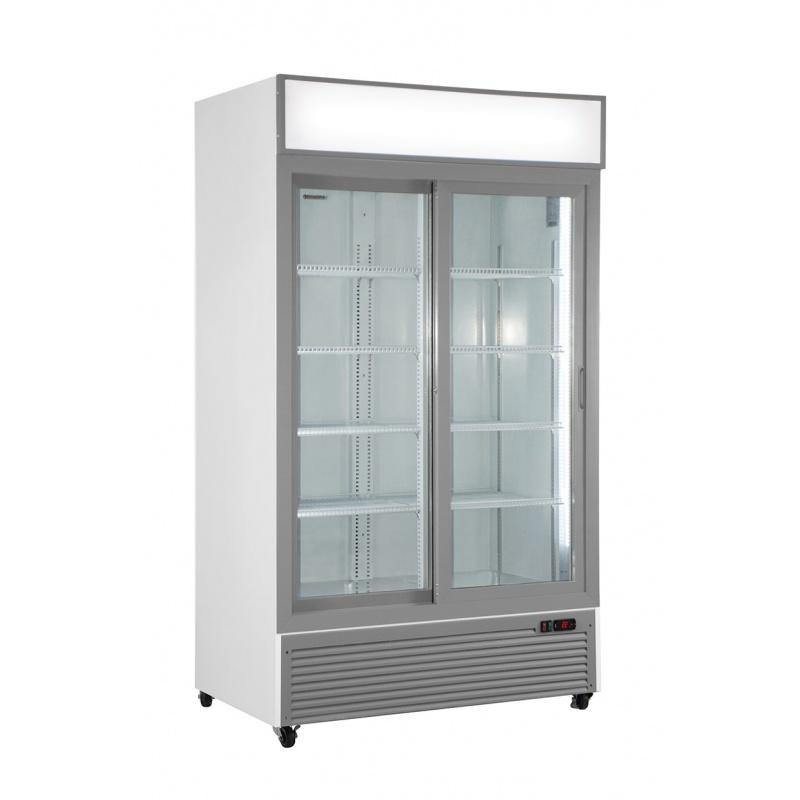 Vitrina frigorifica Klimaitalia CL 1100 V2GC SL, cu caseta luminoasa, capacitate 832 l, temperatura 0/+10°C, alb