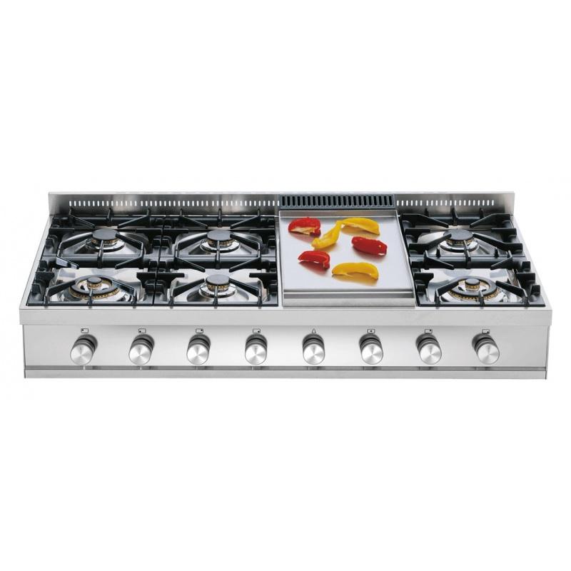Plita incorporabila ILVE Professional Plus HP120, 120 cm, 6 arzatoare+Fry Top, aprindere electronica, siguranta Stop-Gaz, inox