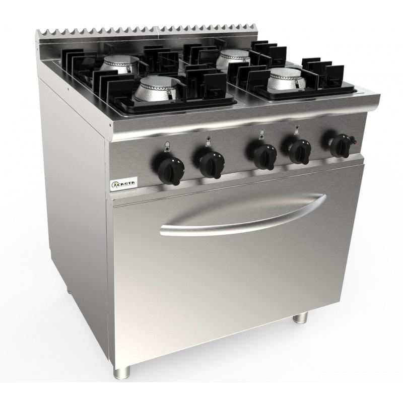 Aragaz profesional pe gaz Casta Lady L7/KUPG4LE.2M2G cu 4 arzatoare si cuptor electric