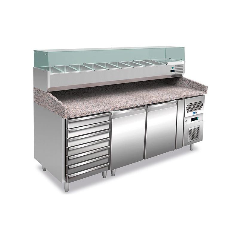 Masa rece pizza Tecfrigo Unico FA 200 C, blat granit, capacitate 505 litri, putere 350+230W, +2+8°C, inox