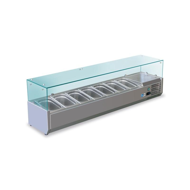 Vitrina frigorifica expunere ingrediente Tecfrigo VPD FA 33 180, putere 150 W, lungime 180 cm, +2/+8°C, inox