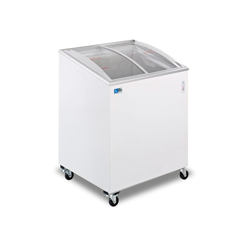 Lada frigorifica Tecfrigo FIVSC 200, cu geamuri glisante, putere 190 W, capacitate 157 litri, lungime 72 cm, -12/-22, alb