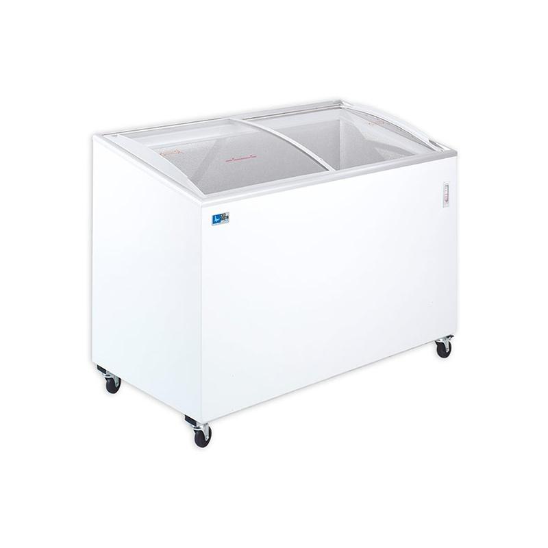 Lada frigorifica Tecfrigo FIVSC 300, cu geamuri glisante, putere 220 W, capacitate 238 litri, lungime 100.9 cm, -12/-22, alb