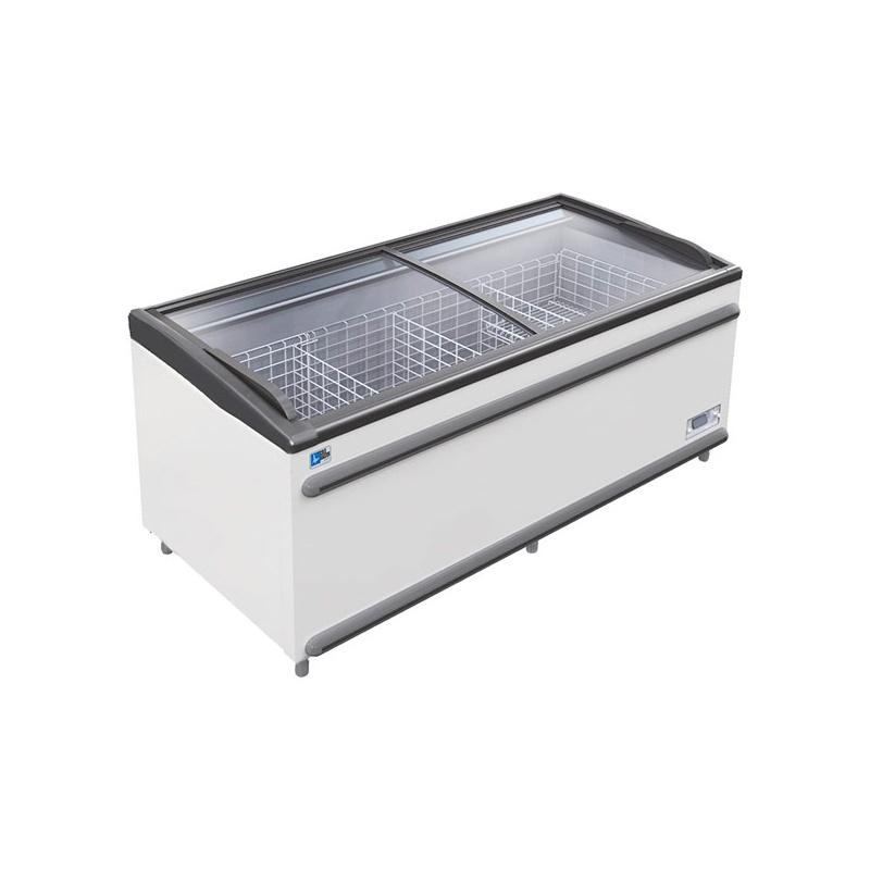 Lada frigorifica Tecfrigo Polaris 185 PT, cu geamuri glisante, 490 W, capacitate 550 l, lungime 185.6 cm, 0/+10, alb