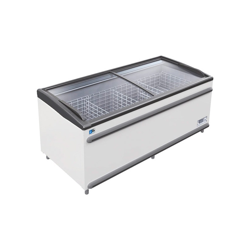 Lada frigorifica Tecfrigo Polaris 250 NT, cu geamuri glisante, 590 W, capacitate 797 l, lungime 250.6 cm, -18/-23, alb