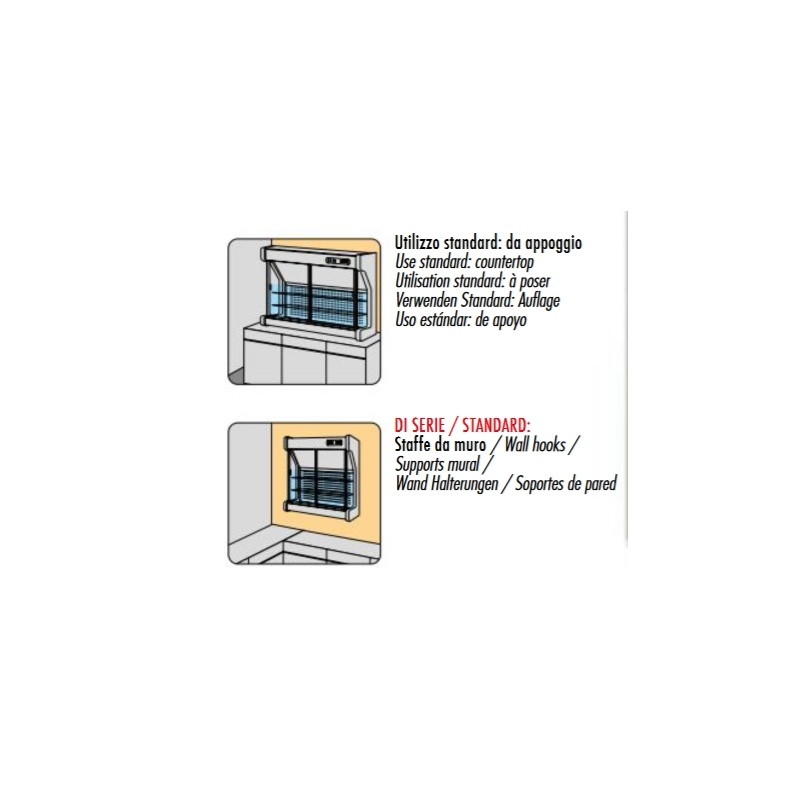 Vitrina frigorifica Tecfrigo SPIO 101, cu geamuri glisante, 396 W, lungime 96.8 cm, +5/+8, inox