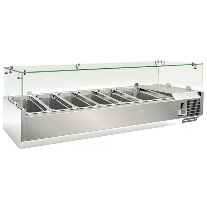 Vitrina frigorifica de expunere Klimaitalia RWX 1800, putere 230 W, temperatura +2 / +8 °C, argintiu