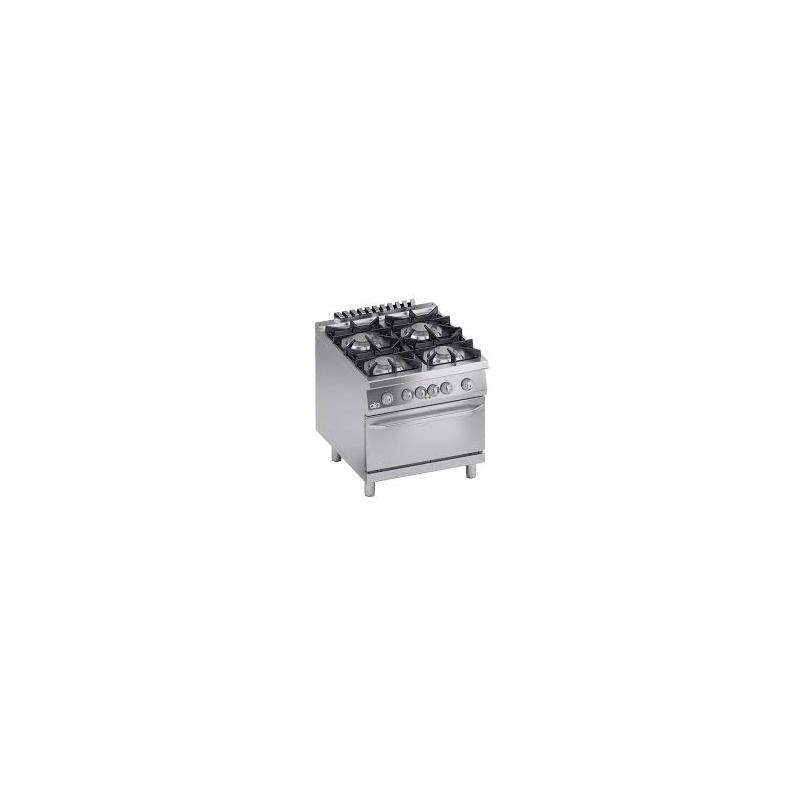 Aragaz profesional pe gaz, Ata Italia K4MCUS10FF cu 4 arzatoare, cuptor electric