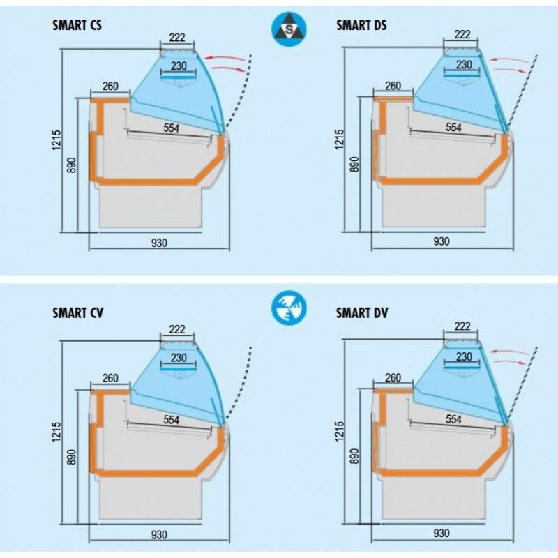 Vitrina frigorifica supermarket Tecfrigo Smart 252 CS, 480 W, refrigerare statica, lungime 250 cm, +3/+6, alb/negru