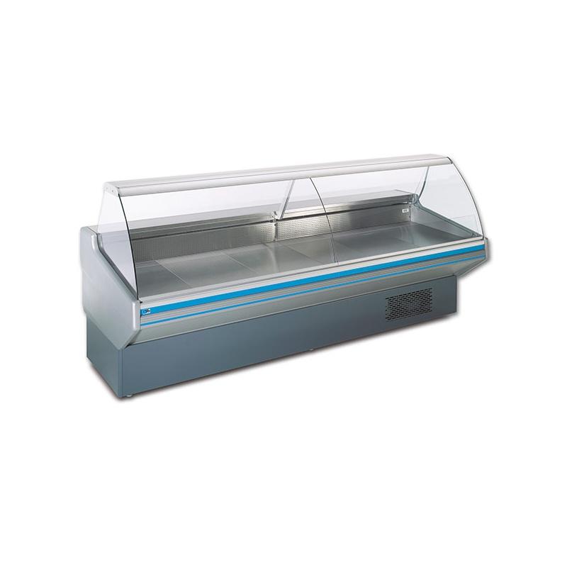 Vitrina frigorifica supermarket Tecfrigo Maxima 130 CS, 690 W, lungime 130 cm, +2/+4, alb/negru