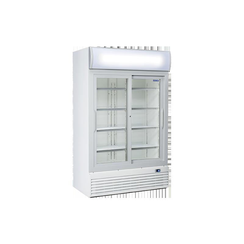 Vitrina frigorifica Cool Wise DC 1000S cu caseta luminoasa, capacitate 1000 L, temperatura +1° ~ +10°C, alb