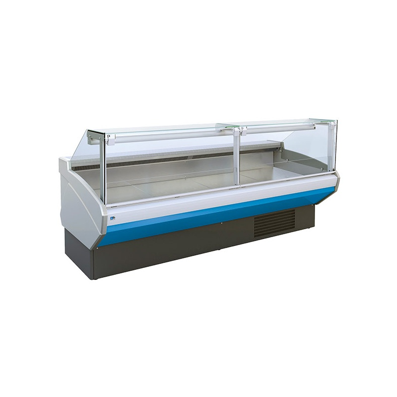 Vitrina frigorifica supermarket Tecfrigo Optima 101 DV, 560 W, lungime 101.7 cm, 0/+2, alb/bleu