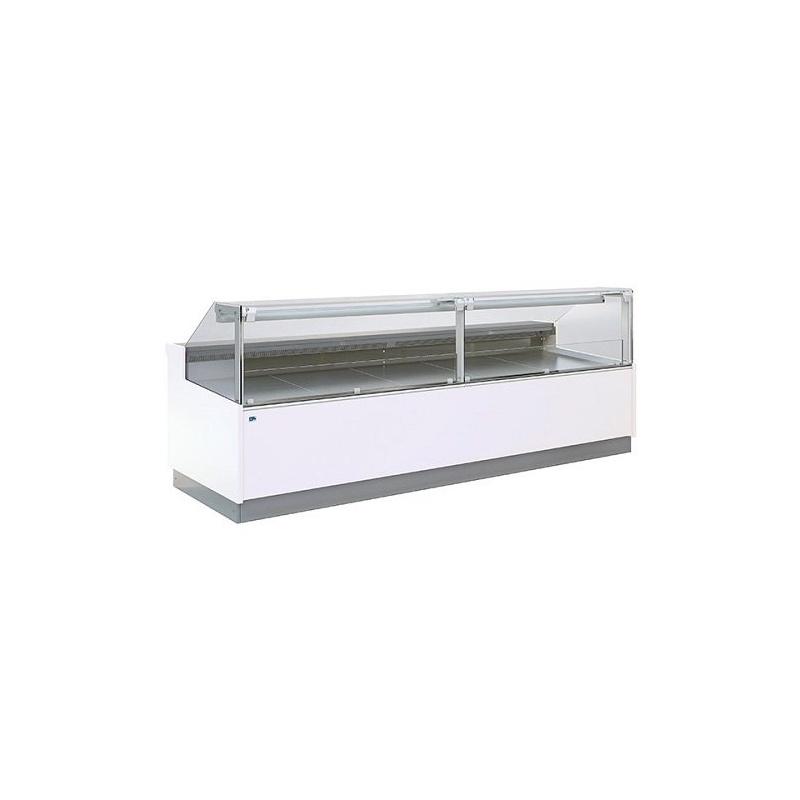 Vitrina frigorifica supermarket Tecfrigo Optima 301 DV Deluxe, 1300 W, lungime 318.5 cm, 0/+2, alb/bleu