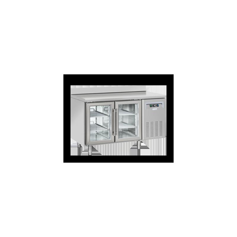 Masa rece cu rebord Cool Head SRG 2200, cu 2 usi din sticla, capacitate 230 l, lungime 135 cm, temperatura +3°/ +10°C, inox