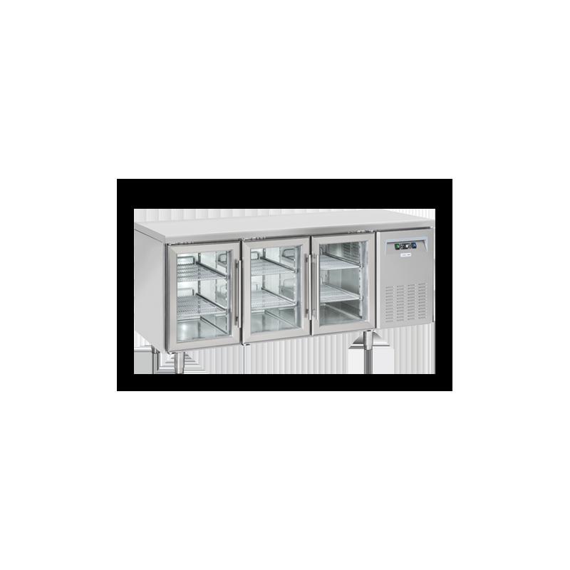 Masa rece Cool Head SRG 3100, cu 3 usi din sticla, capacitate 358 l, lungime 180 cm, temperatura +3°/ +10°C, inox