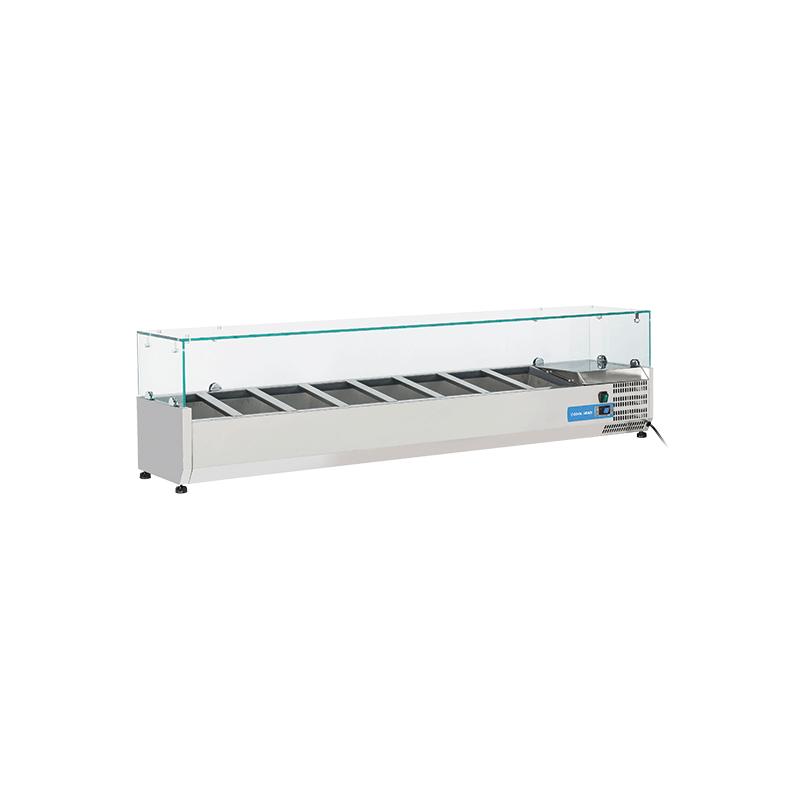 Vitrina frigorifica expunere ingrediente Cool Head VRX 18/33, capacitate 58 l, lungime 180 cm, temperatura +2°/ +8°C, inox