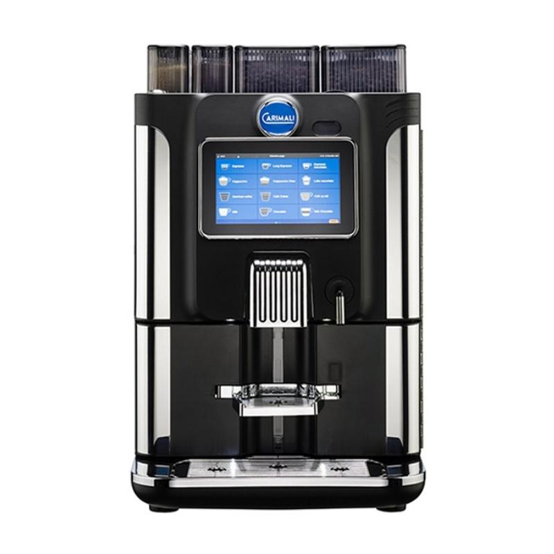 Automat de cafea Carimali BlueDot Plus display 7K ecran tactil 2 rasnite rezervor si racord apa direct la retea negru