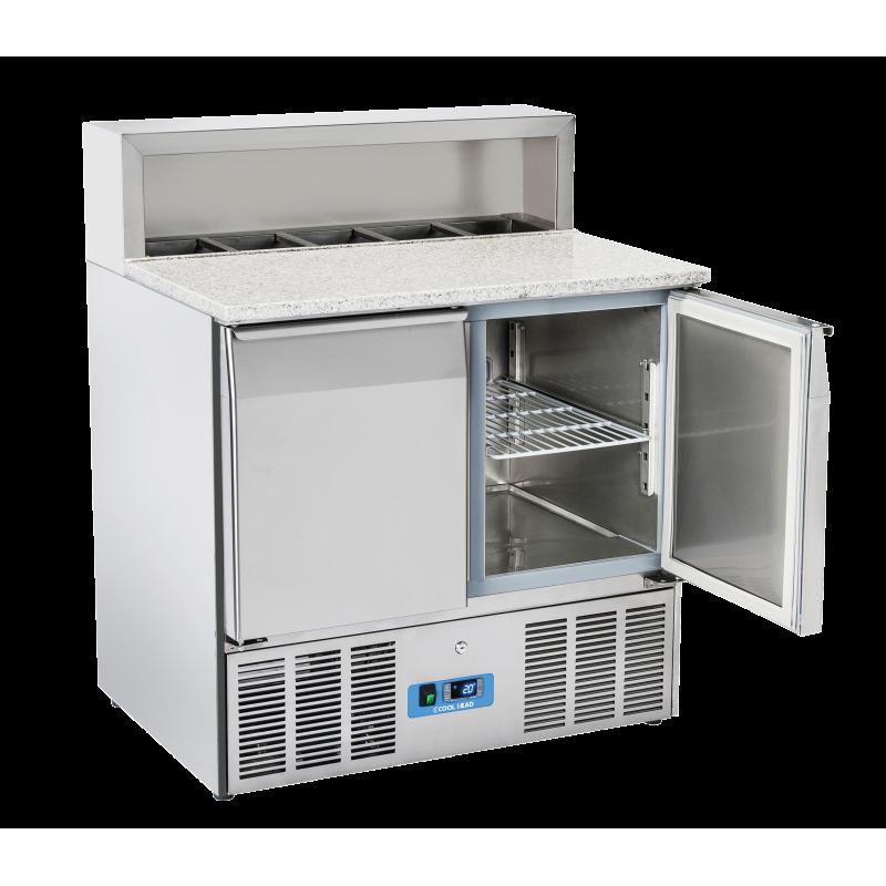 Masa rece saladeta cu blat din granit Cool Head CRP 90A, capacitate 265 l, lungime 90 cm, temperatura 0°/ +8°C, inox