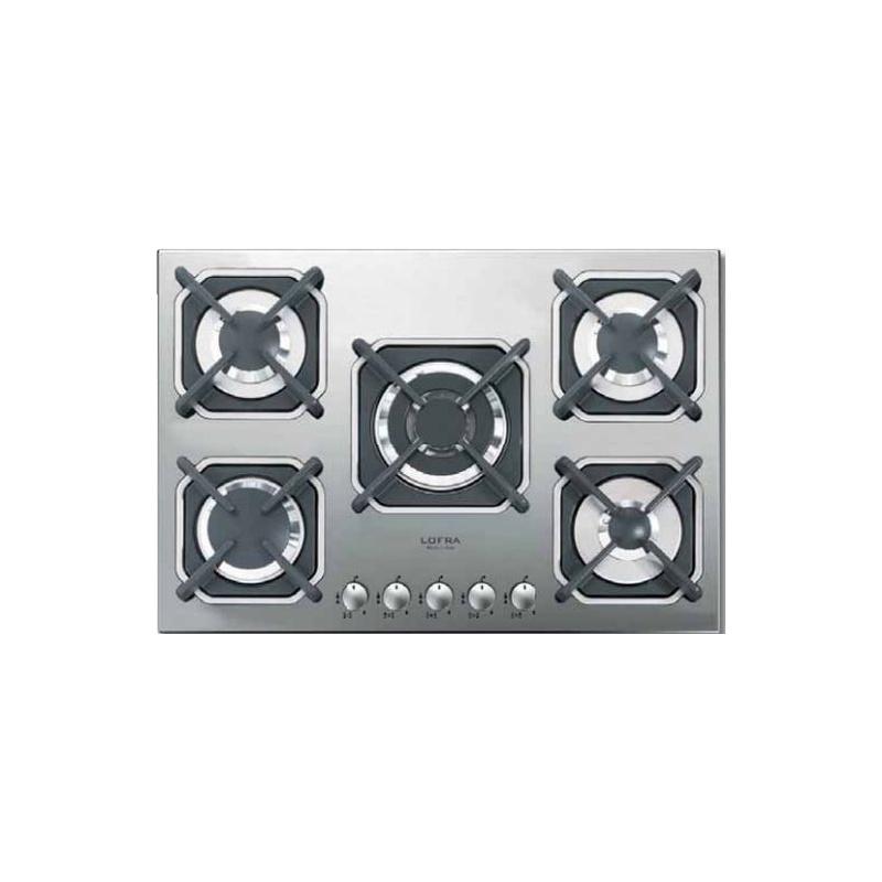 Plita incorporabila Lofra Deimos HPS7A0, 75 cm, 5 arzatoare, aprindere electronica, sistem siguranta Stop-Gaz, inox