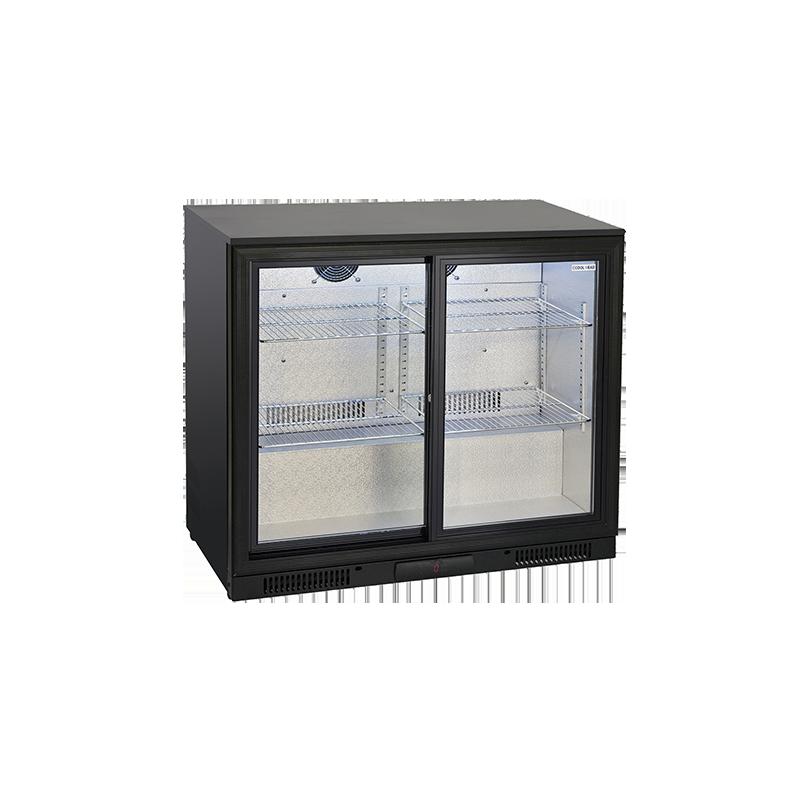 Vitrina frigorifica bauturi Cool Wise BBC 286S cu 2 usi, capacitate 201 L, temperatura +1°/ +10°C, negru