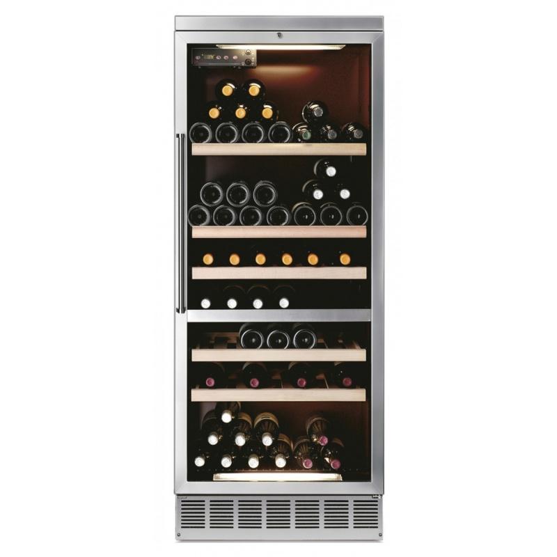 Vitrina frigorifica incorporabila vinuri Ipindustrie CIK301D pentru 98 sticle, 2 zone temperatura +10+18°/+4+10°C, inox
