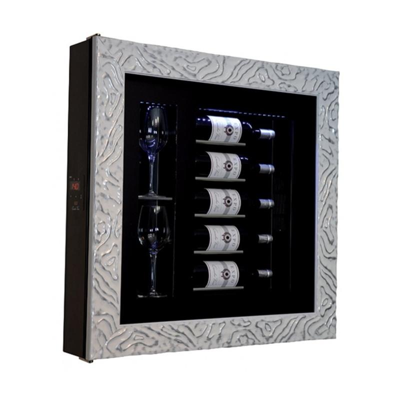 Vitrina frigorifica tablou pentru vinuri Ip Industrie QV52-N4251B/U, capacitate sticle 5, temperatura +12/ +20°C, negru/argintiu