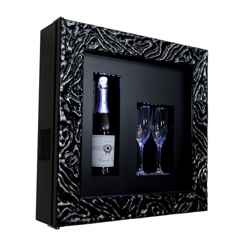 Vitrina frigorifica tablou pentru vinuri Ip Industrie QV12-N4351B/U, capacitate 1 sticla, temperatura +4/ +10°C, negru