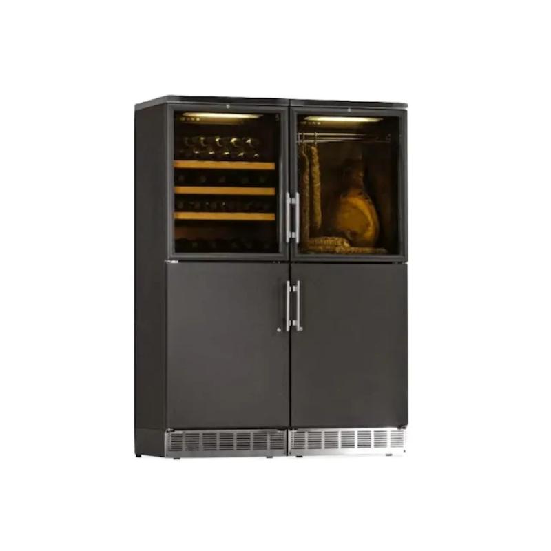 Vitrina frigorifica multifunctionala Ipindustrie Frigo Cantina DEK 2404 CF, 140 l, 4 zone temperatura +4°C° / +18°C, negru