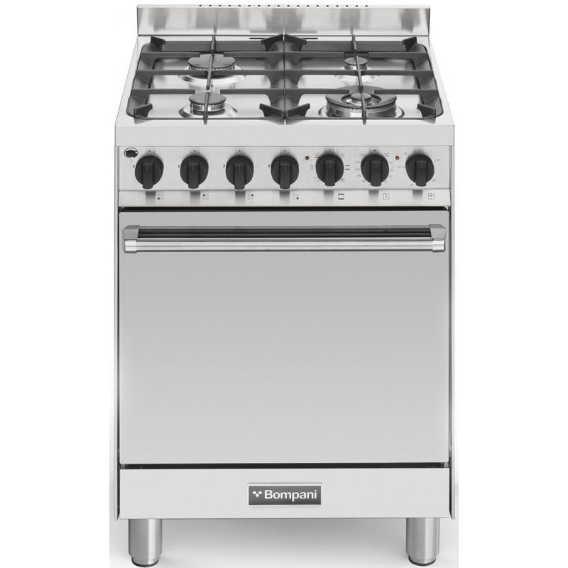Aragaz Bompani Tech BO643CC/N 60x60 cm plita gaz 4 arzatoare aprindere electronica grill cuptor electric inox