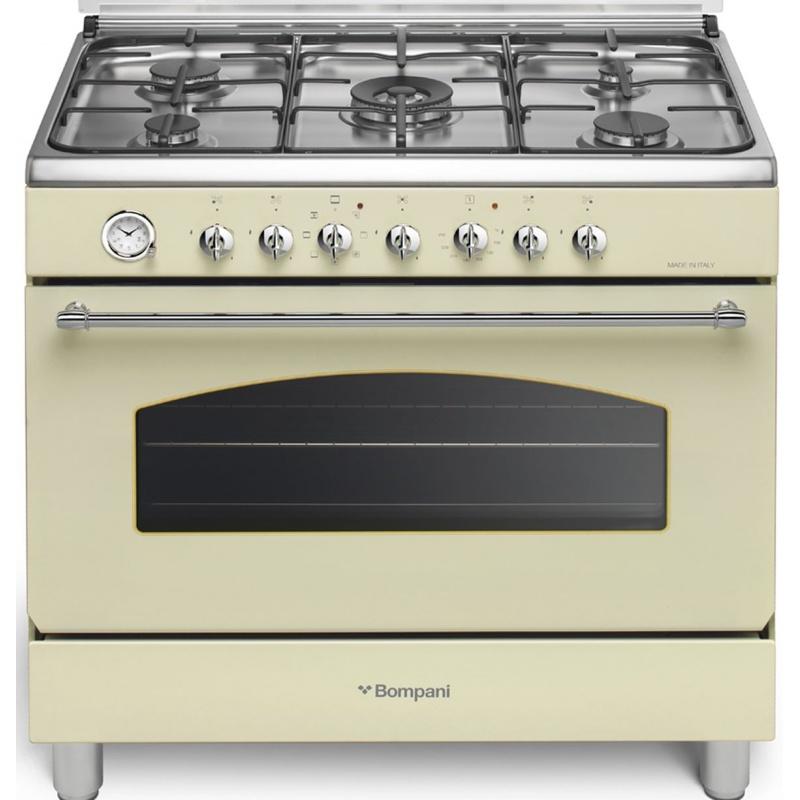 Aragaz Bompani Belle Epoque BO684JM/N 90x60 cm 5 arzatoare gaz aprindere electronica cuptor electric grill crem