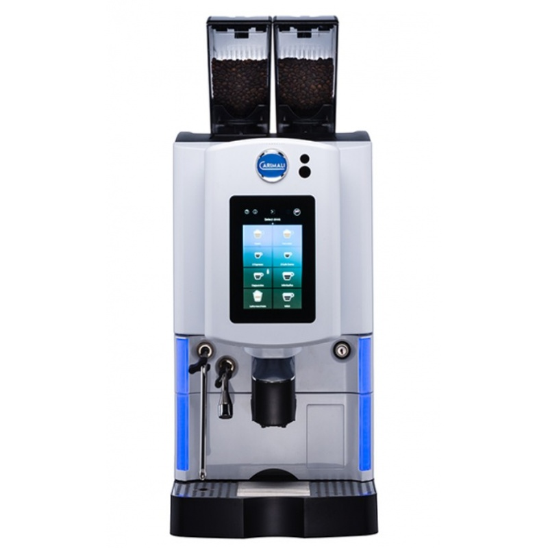 Automat de cafea Carimali Optima Soft Plus LM.2 display 7K ecran tactil 2 rasnite racord apa direct la retea gri mat