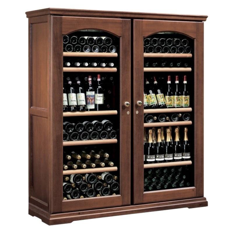 Vitrina frigorifica vinuri Ipindustrie CEXK2401, capacitate sticle 230, cu 2 usi, temperatura +4°C° / +18°C, lemn masiv