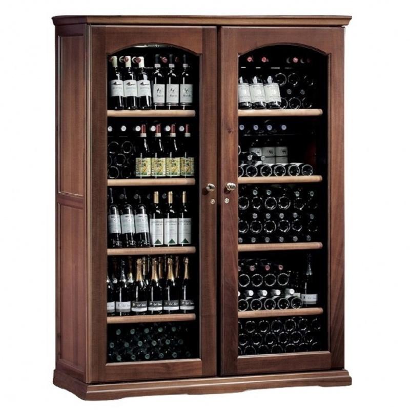 Vitrina frigorifica vinuri Ipindustrie CEXK2501, capacitate sticle 276, cu 2 usi, temperatura +4°C° / +18°C, lemn masiv