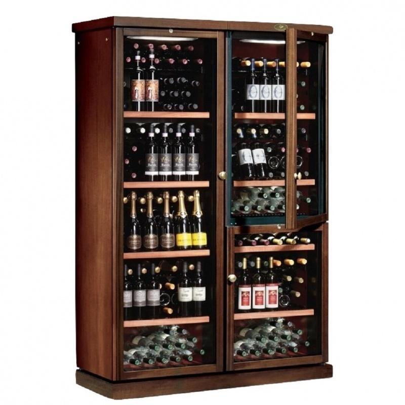 Vitrina frigorifica vinuri Ipindustrie CEXPK2651 capacitate sticle 272, 3 zone temperatura +4°C° / +18°C, lemn masiv
