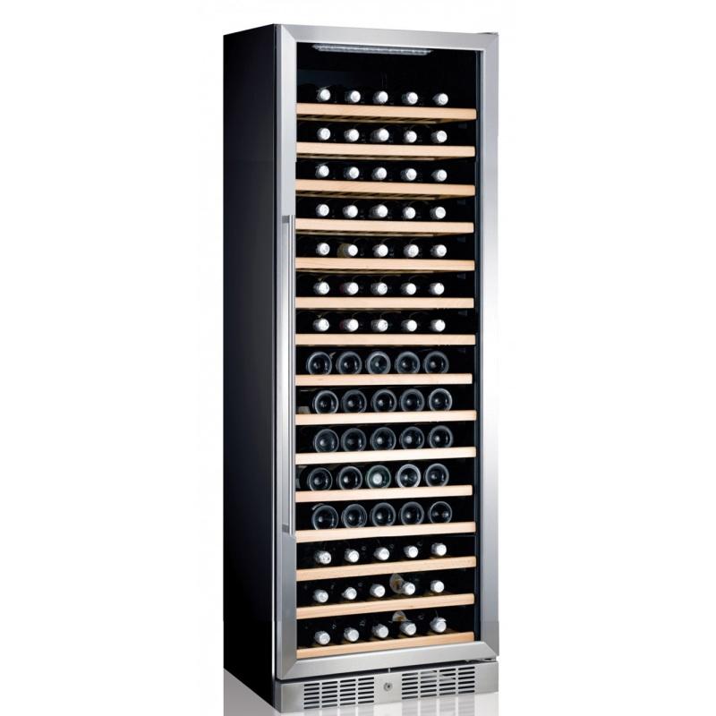 Vitrina frigorifica vinuri Ipindustrie JG166A, capacitate sticle 165, temperatura +5°C / +18°C, negru/argintiu